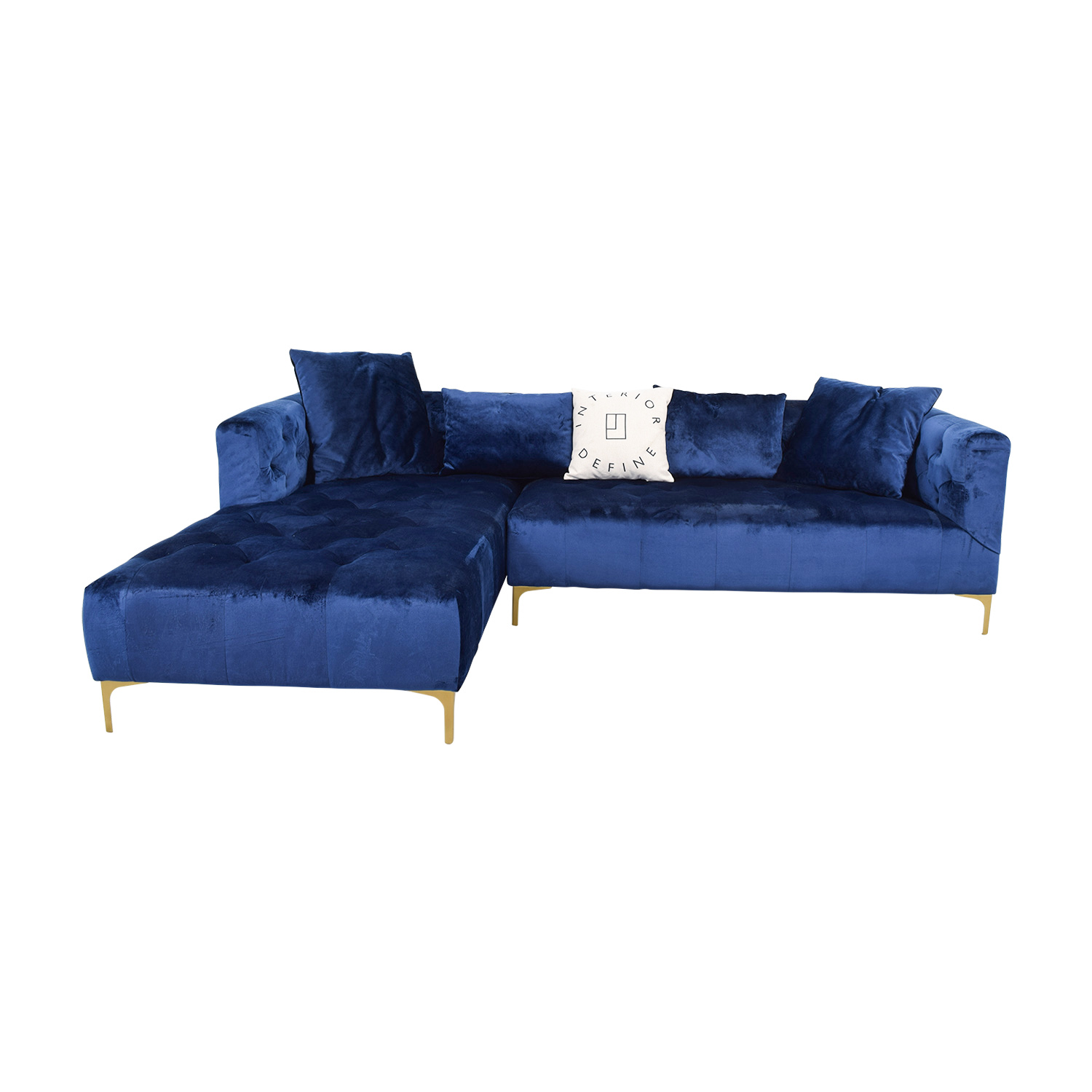 Chesterfield Sectional Sofa 55 Off Ms Chesterfield Blue Tufted Left Chaise Sectional Sofas