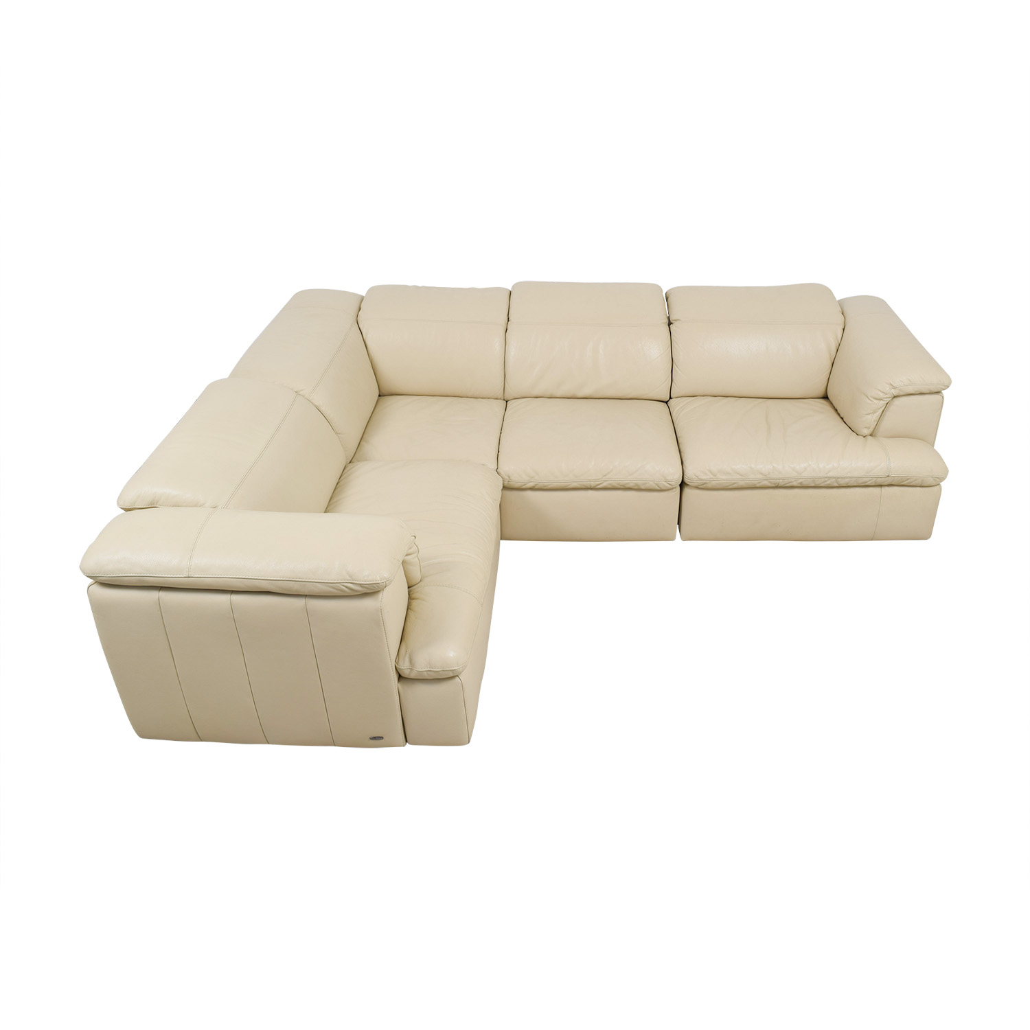 Sofa L Shape Dimensions 79 Off Natuzzi Natuzzi Vanilla Italian Leather L Shaped Sectional Sofas