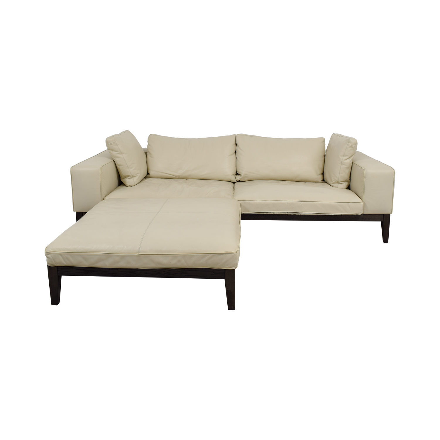 White Leather Couch 90 Off Tree Tree Contemporary Italian Off White Leather Couch With Large Chaise Ottoman Sofas