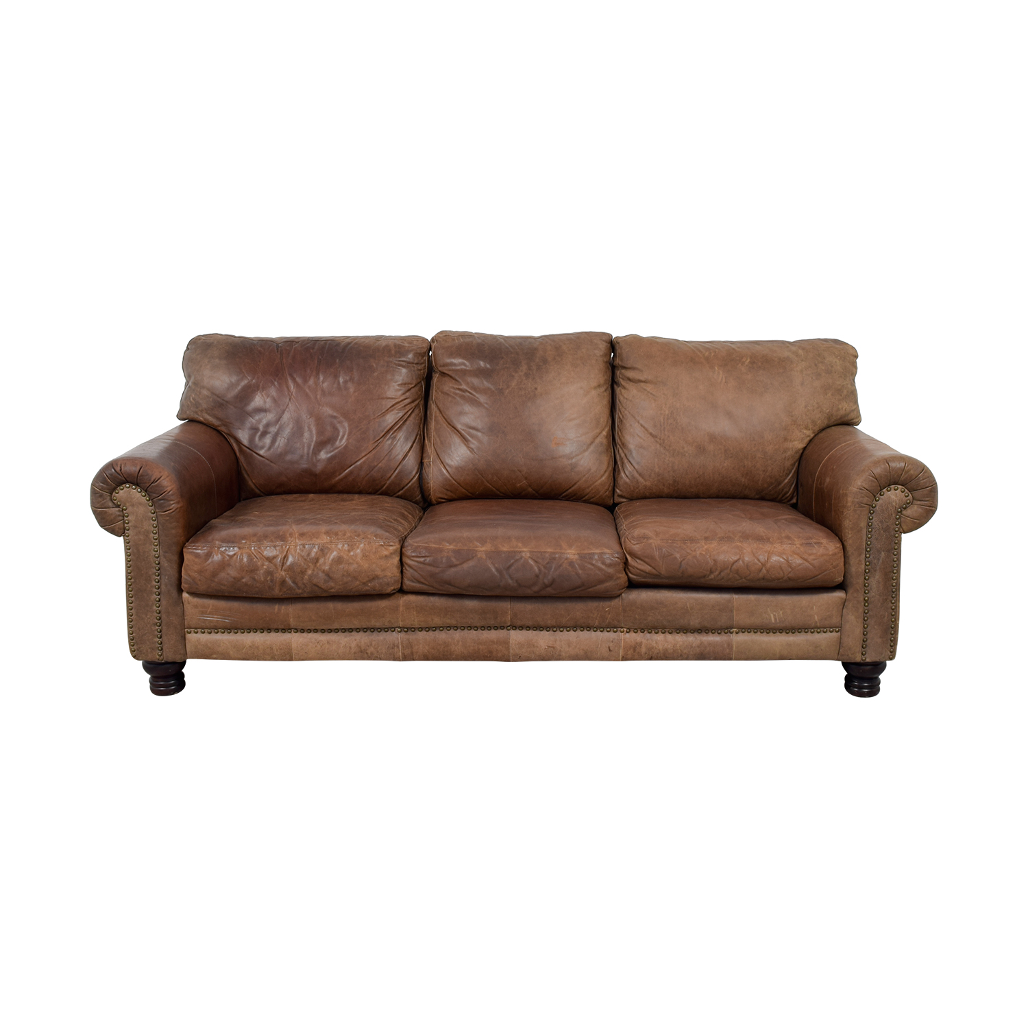 Leather Sofa La Z Boy 53 Off La Z Boy La Z Boy Three Cushion Brown Leather Couch Sofas