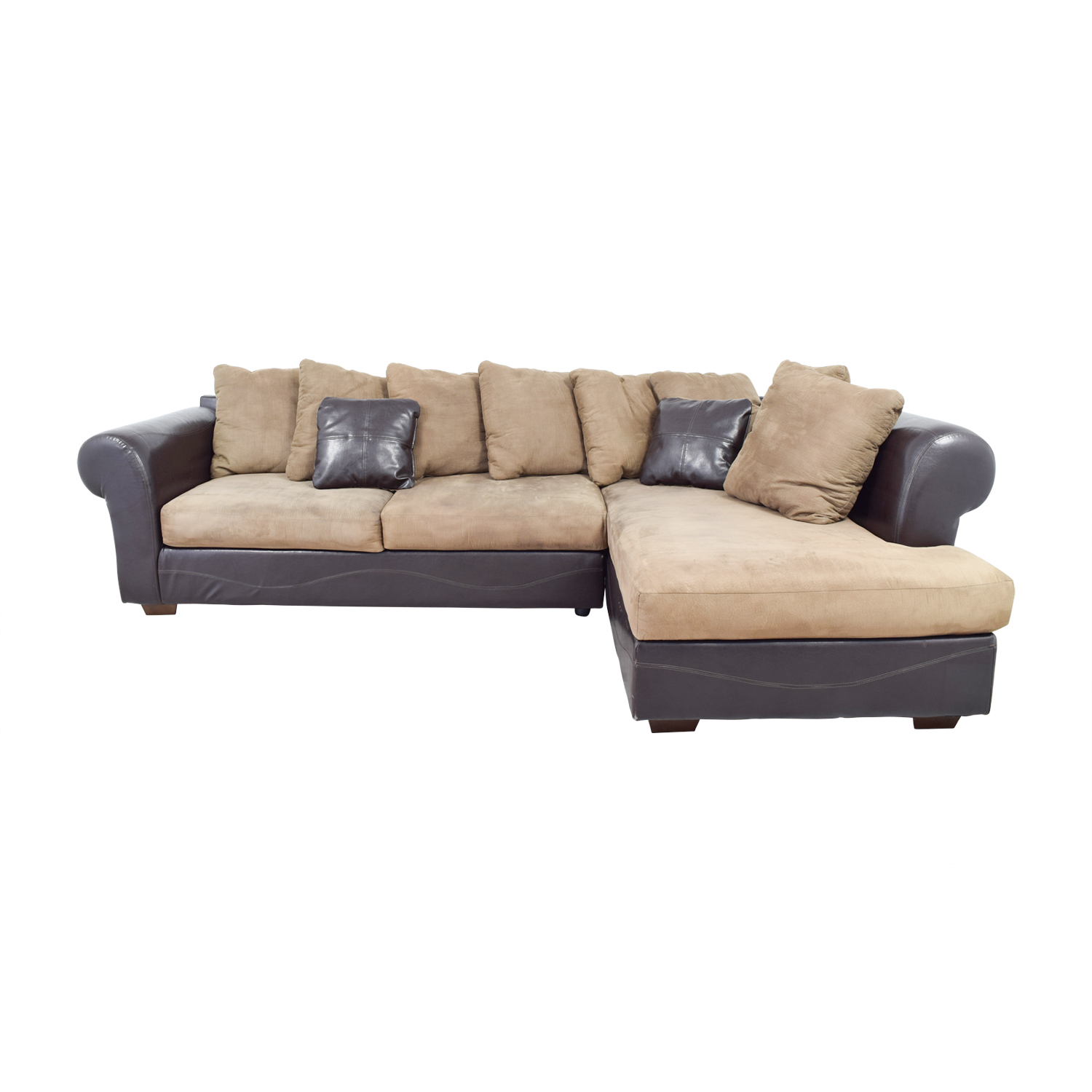 Sectional Bed Sofa 68 Off Ashley Furniture Ashley Furniture Brown Leather And Tan Microfiber Chaise Sectional Sofas