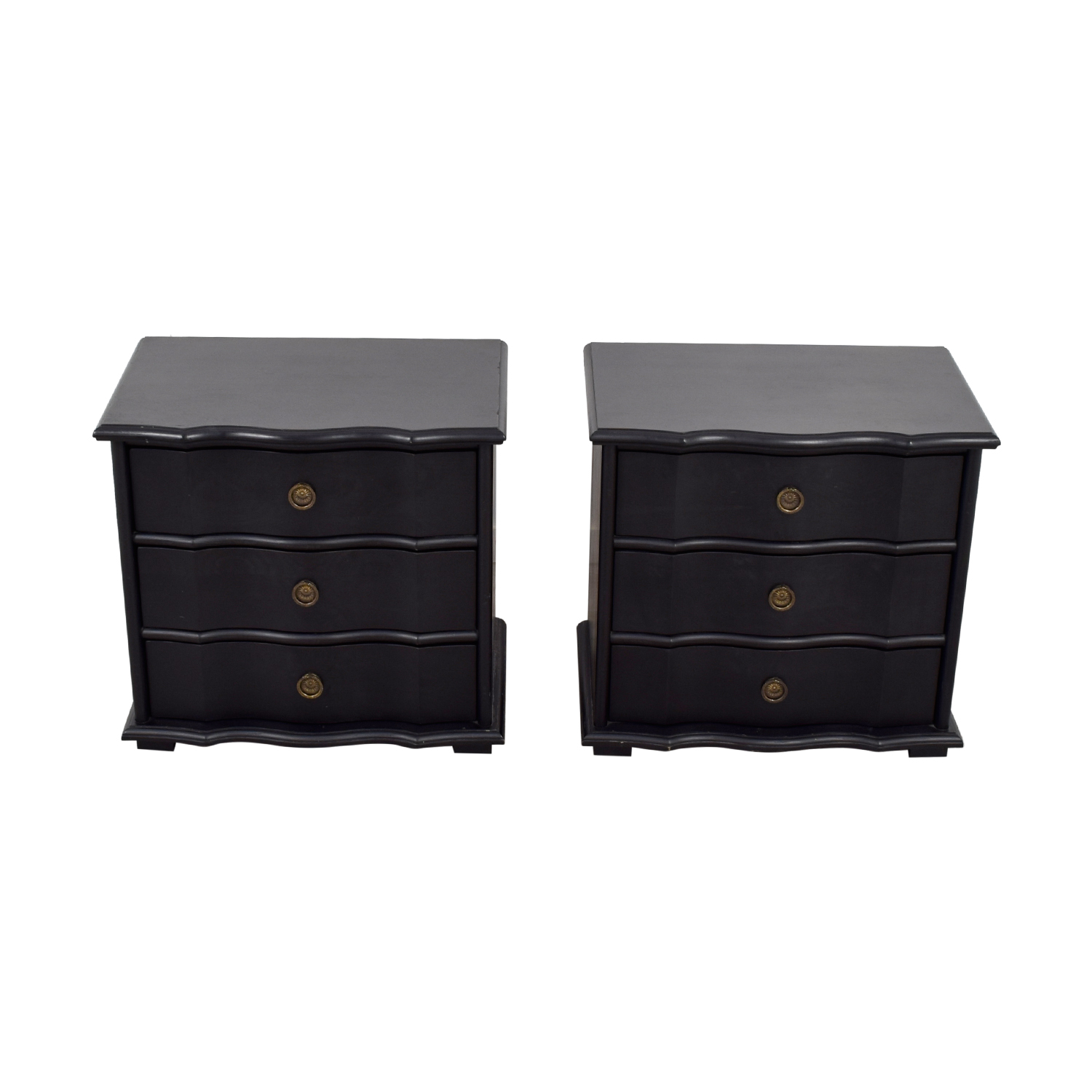 Black End Tables With Drawer 67 Off Restoration Hardware Restoration Hardware Italian Baroque Black Wood Three Drawer Nightstands Tables