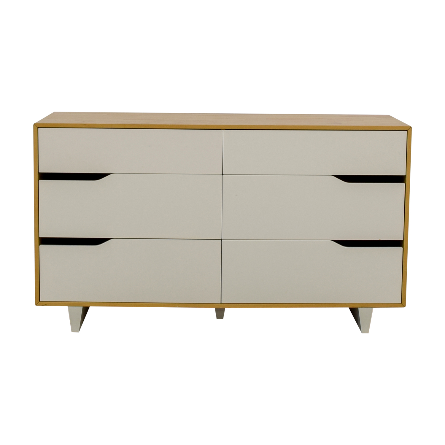 Ikea Mandal Frame 51 Off Ikea Ikea Mandal White And Natural Six Drawer Dresser Storage