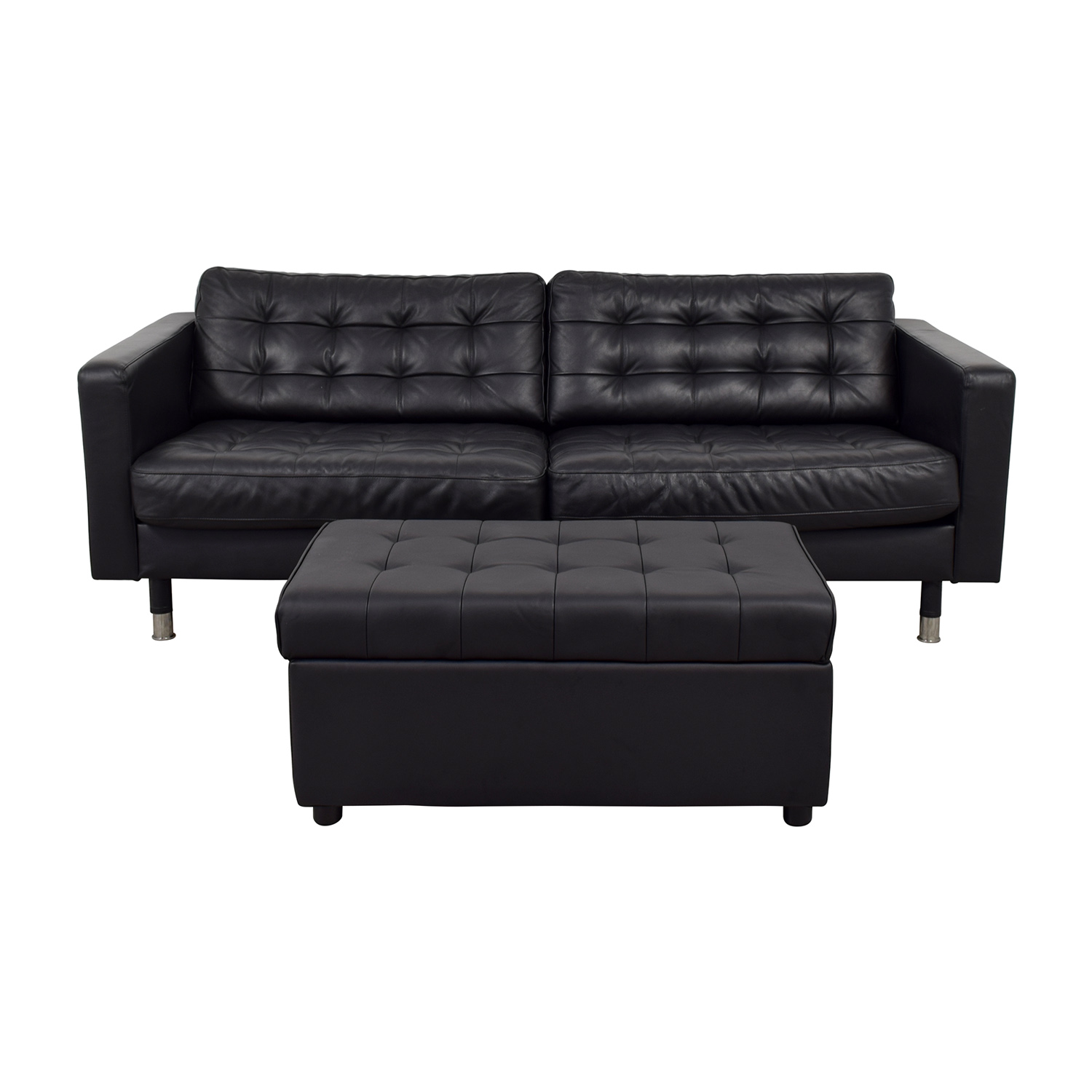 Loveseat Ikea 36 Off Ikea Ikea Black Tufted Loveseat And Ottoman With Storage Sofas
