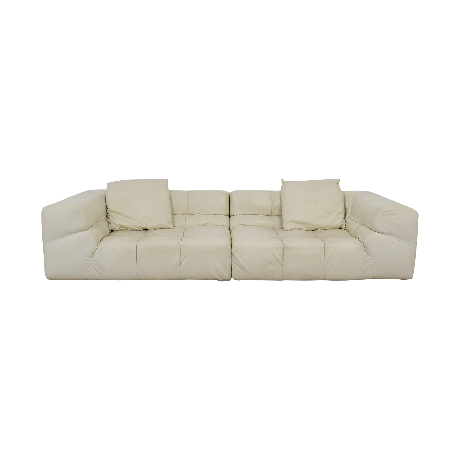 Ligne Roset Online 52 Off Ligne Roset Ligne Roset White Tufted Leather Couch Sofas