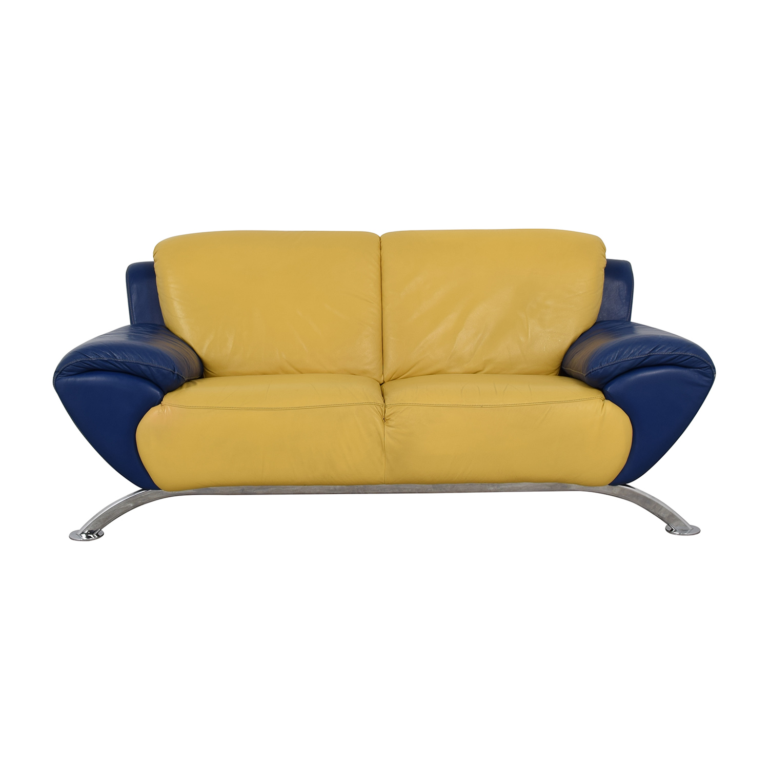 88 Off Satis Satis Modern Yellow And Blue Leather Two Cushion Sofa Sofas