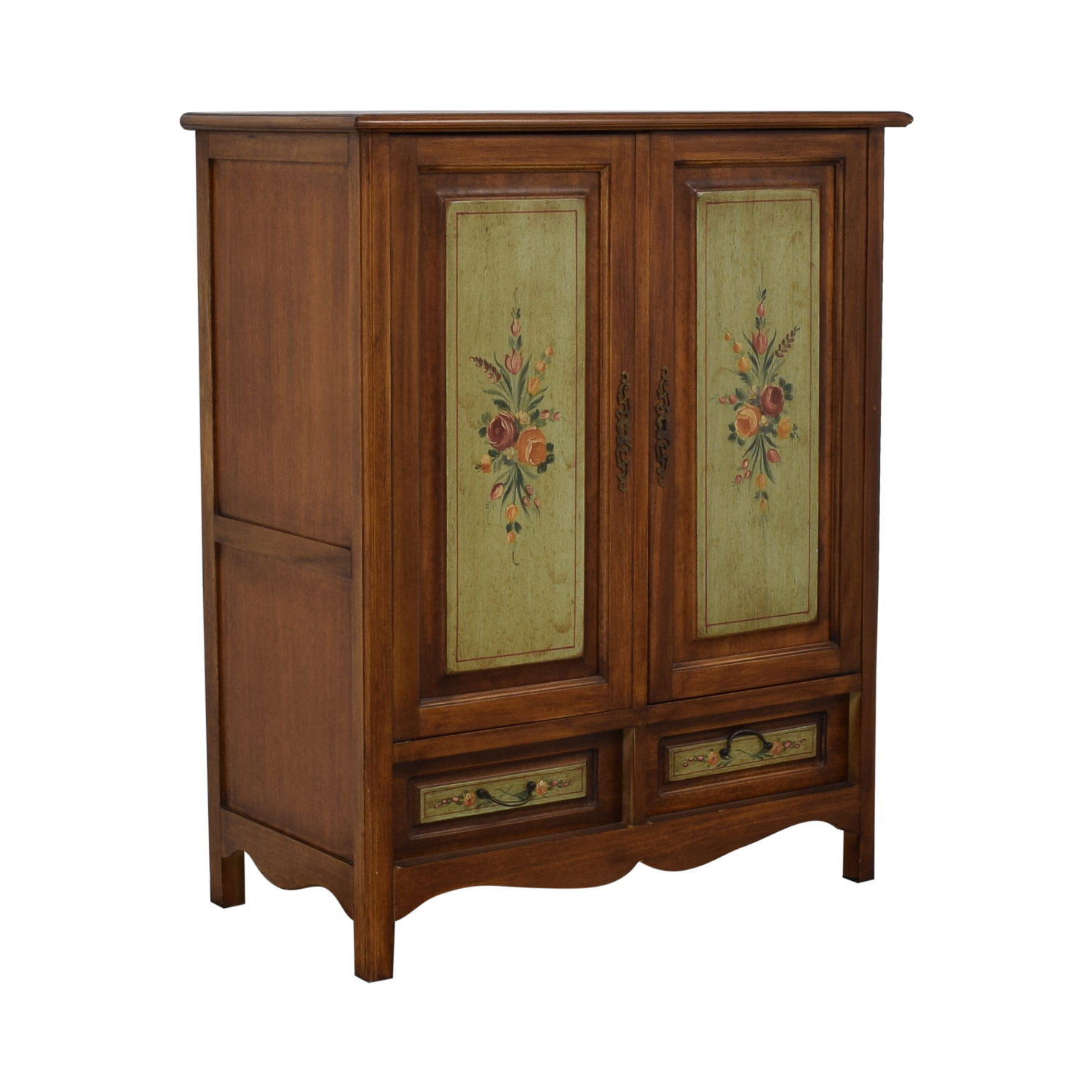 Cupboard Drawers 78 Off Domain Domain Walnut French Antique Floral Painted Media Cabinet With Drawers Storage