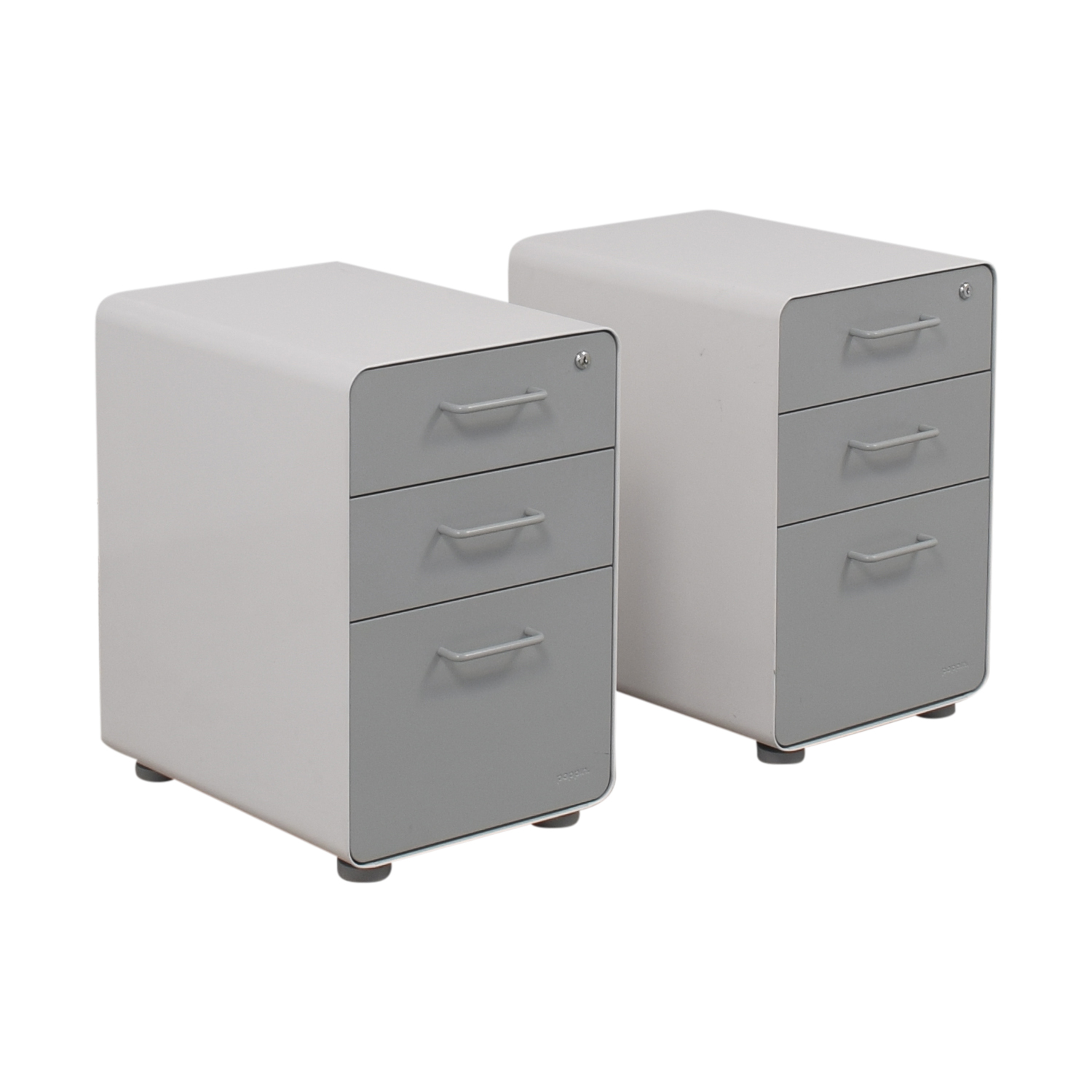 Rolling Filing Cabinets 84 Off Poppin Poppin White And Grey Rolling Three Drawer File Cabinets Storage