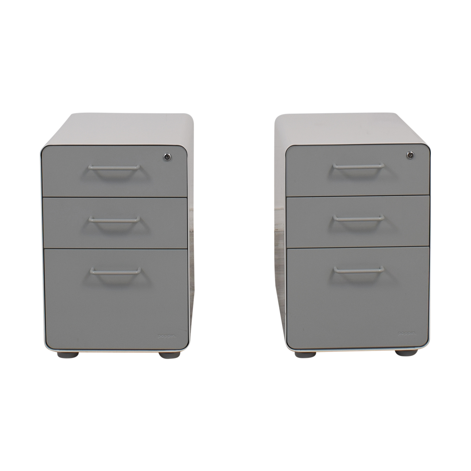Rolling Filing Cabinets 84 Off Poppin Poppin White And Grey Rolling Three Drawer File