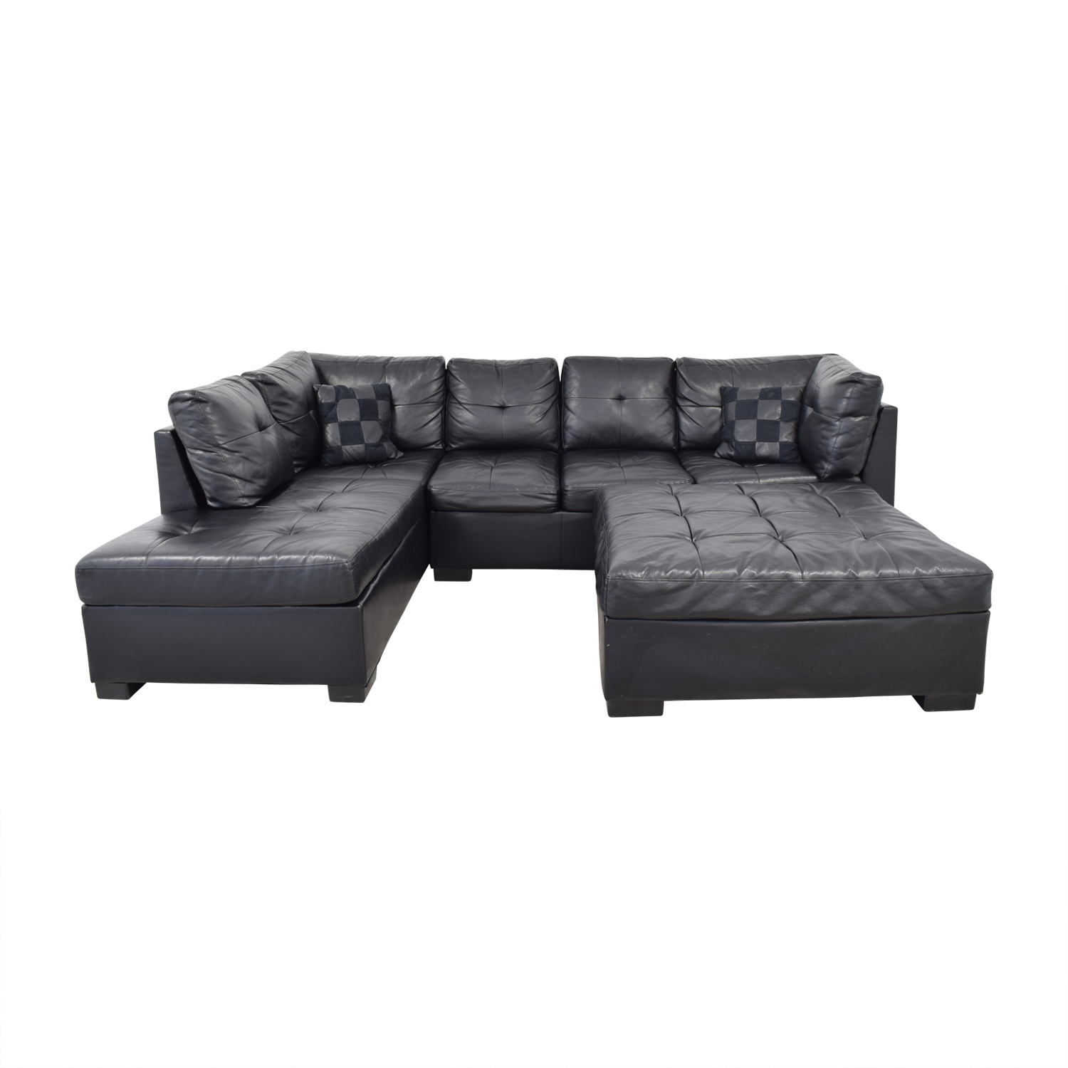 Furniture Chaise 66 Off Coaster Fine Furniture Coaster Fine Furniture Black Tufted Chaise Sectional With Ottoman Sofas