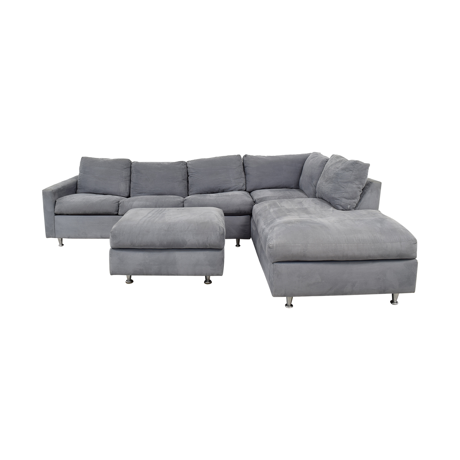 Queen Sofa Bed Ottoman 72 Off Jensen Lewis Jensen Lewis Grey Ultrasuede Chaise Sectional With Ottoman And Queen Convertible Sofas