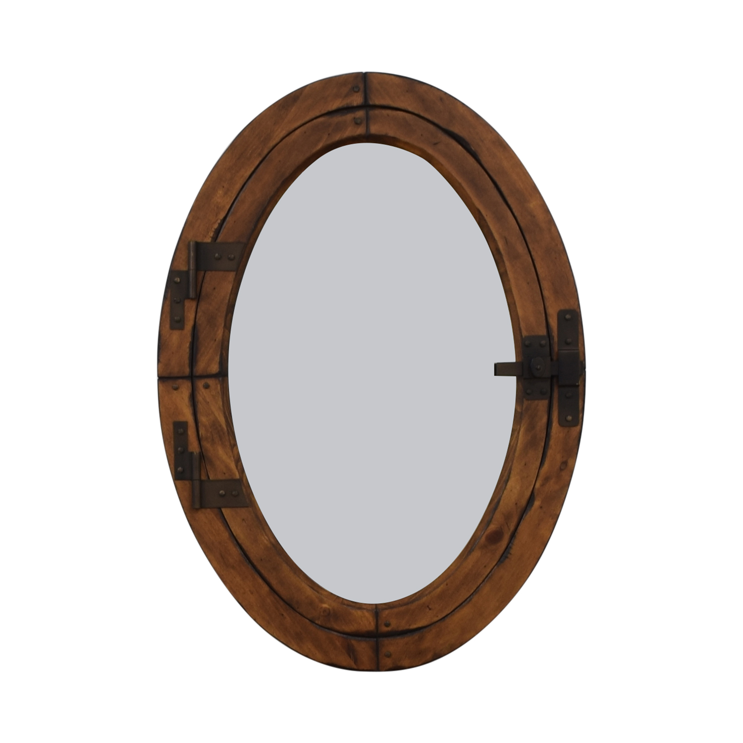 Oval Mirror Wood Frame 67 Off Pottery Barn Pottery Barn Wooden Framed Oval Porthole Mirror Decor