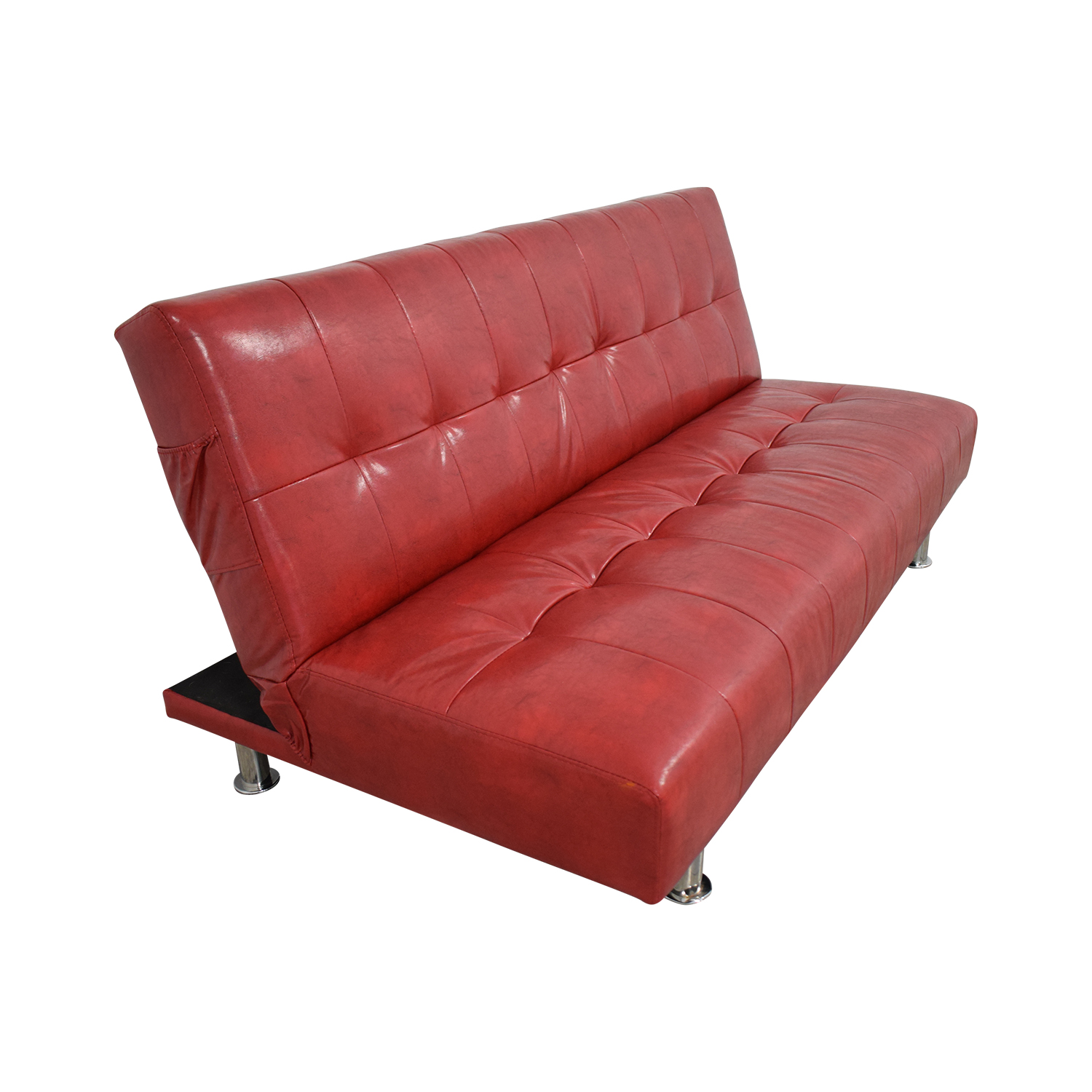 75 Off Macy S Macy S Red Faux Leather Sofa Futon Sofas