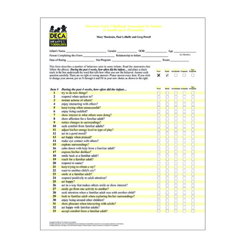 Infant/toddler Home Record Form Deca I T Infant Record Forms