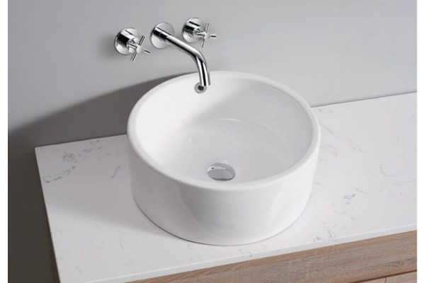 White High Gloss Ceramic Bathroom Sink Basin Above Counter