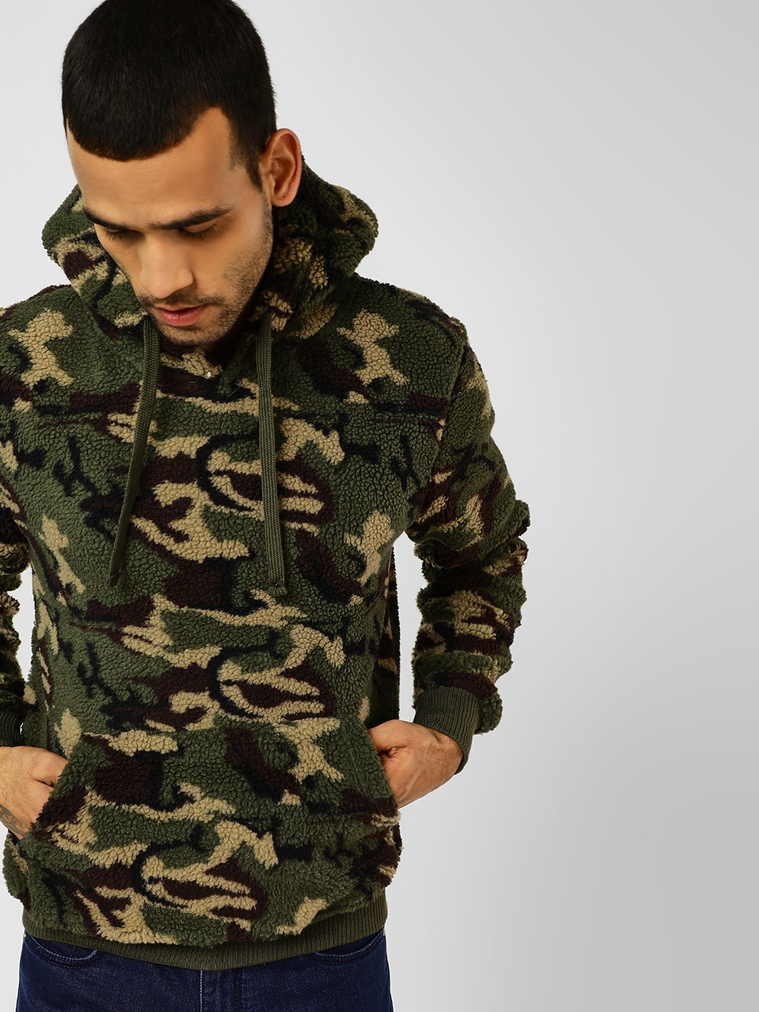 Camo Hoodie India Buy Brave Soul Khakhi Camo Long Sleeve Hoodie For Men Online