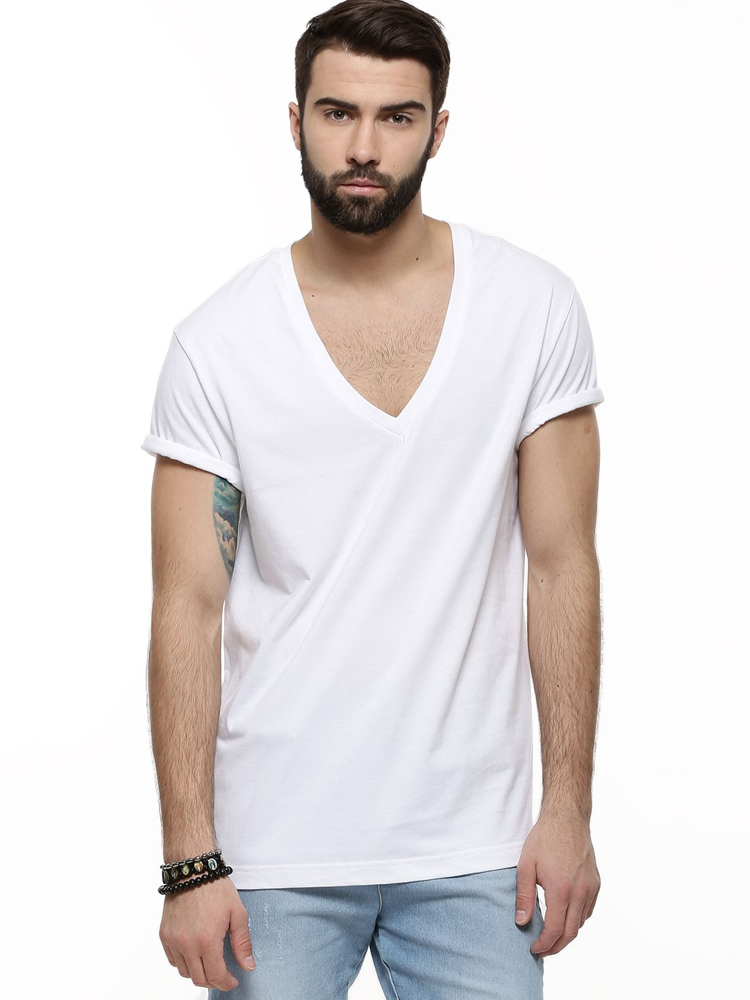 V Neck T Shirt Buy Koovs White Deep V-neck T-shirt For Men Online In India