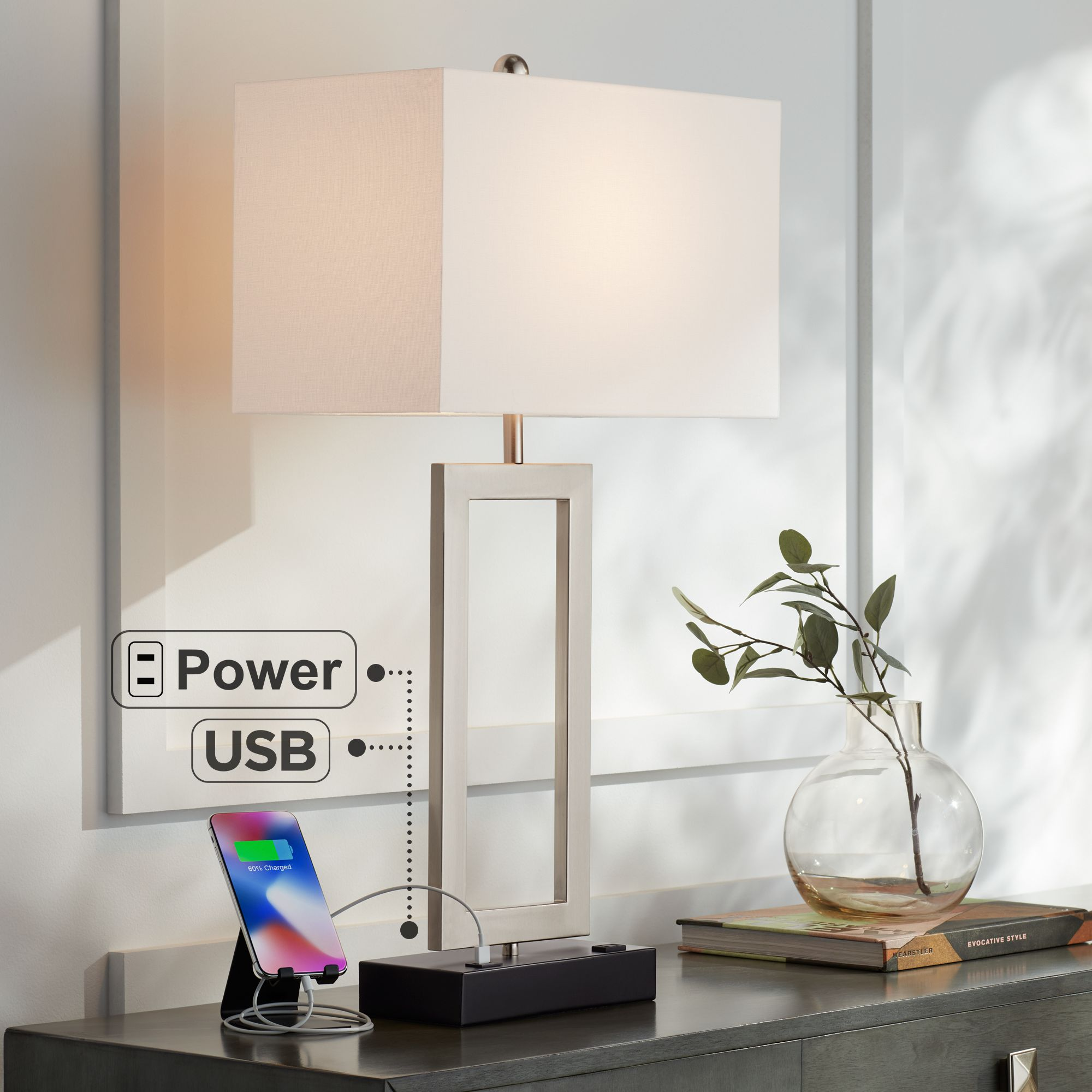 Contemporary Electrical Outlets Details About Modern Table Lamp With Usb Outlet Steel Open Rectangle For Living Room Bedroom