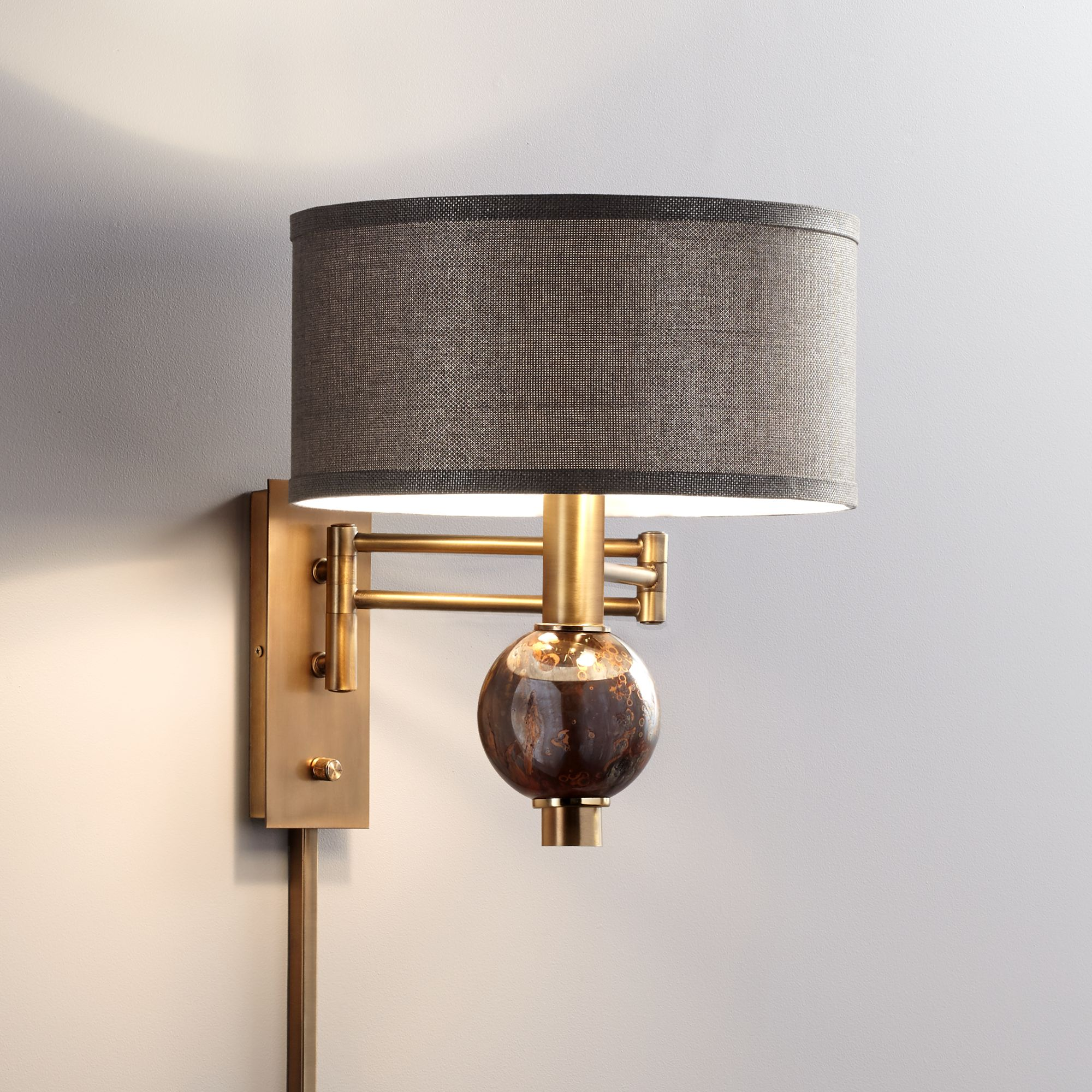Swing Wall Lamp Details About Richford Brass Plug In Swing Arm Wall Lamp With Dimmer