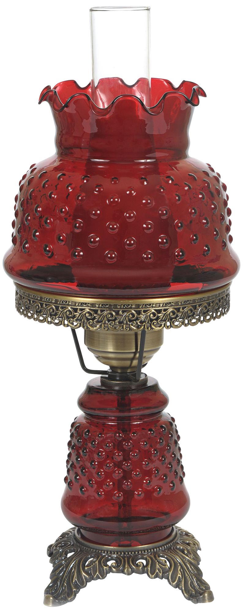 "Cranberry Hobnail Glass 18 1/2"" High Hurricane Table Lamp"