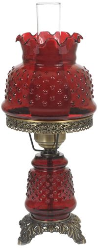 "Cranberry Hobnail Glass 18 1/2"" High Hurricane Table Lamp ..."