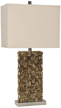 Mystic Capiz Shell Gold Table Lamp with Rectangular Shade