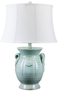 St Tropez Aqua Blue Urn Ceramic Table Lamp