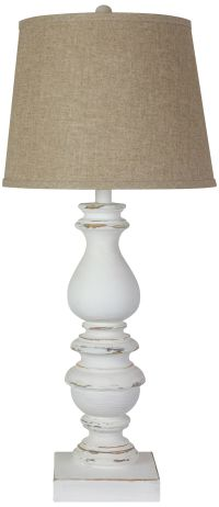 Bishop Distressed White Table Lamp - #24R98 | Lamps Plus