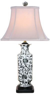 Black And White Floral Vase Table Lamp - #2Y548 | Lamps Plus