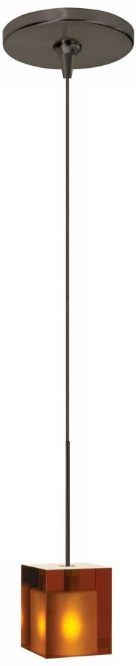 Cube Amber Glass Bronze Tech Lighting Mini Pendant ...