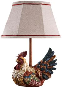 Country Farmhouse Rooster With Plaid Shade Mini Table Lamp ...