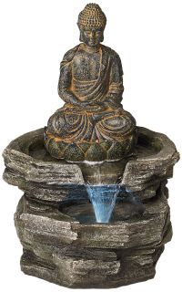 "Sitting Buddha 21"" High LED Water Fountain - #46100 ..."