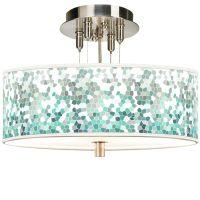"Aqua Mosaic Giclee 14"" Wide Ceiling Light - #55369-9D439 ..."
