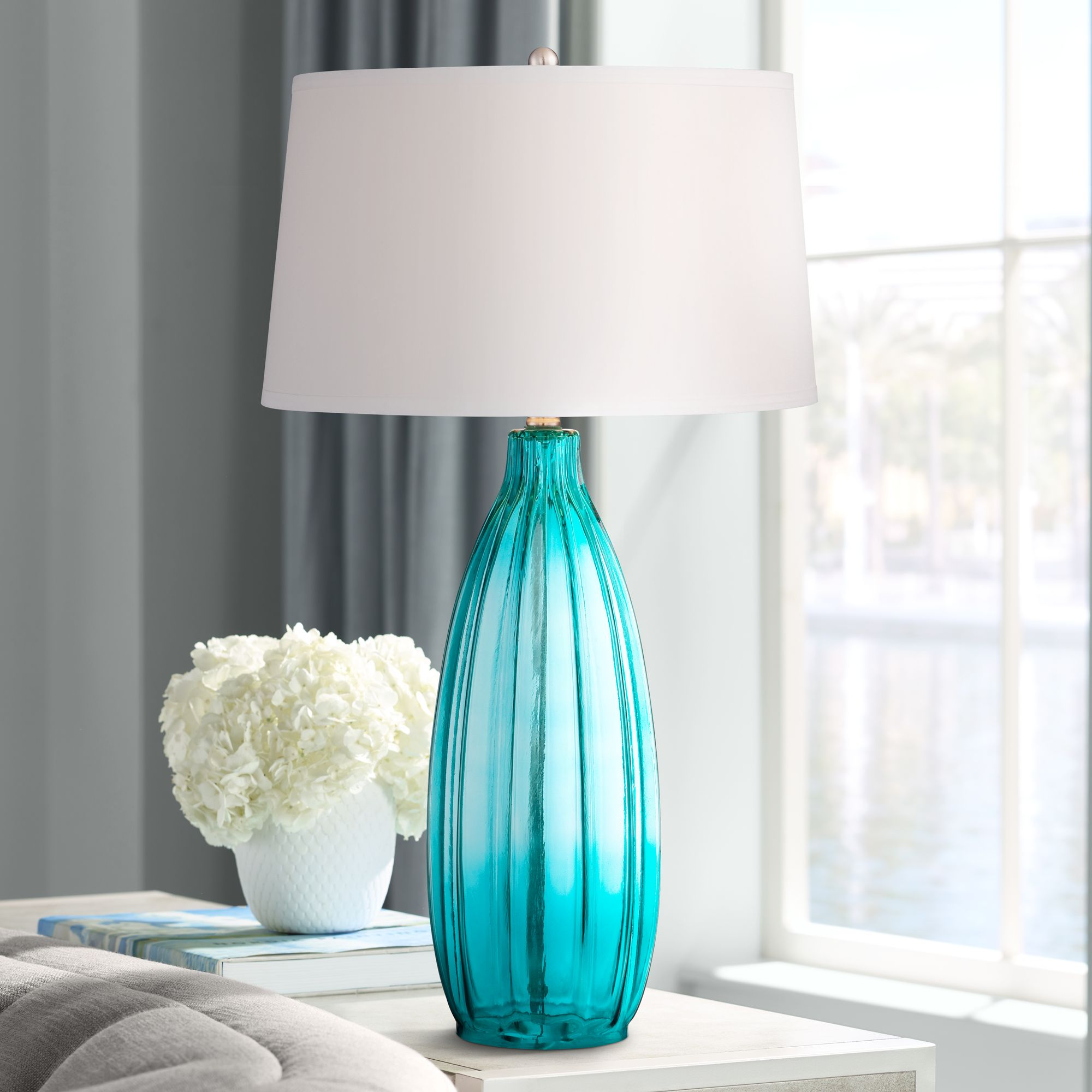 Ultra Modern Table Lamp Details About Modern Table Lamp Clear Blue Fluted Glass White Shade For Living Room Bedroom
