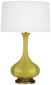 Robert Abbey Pike Citron Ceramic and Brass Table Lamp ...