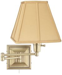 Tan Square-Cut Shade Brass Beaded Plug-In Swing Arm Wall ...