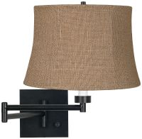 Natural Burlap Espresso Plug-In Swing Arm Wall Lamp ...