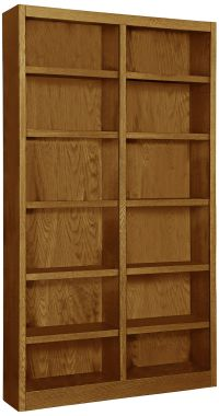 Grundy Dry Oak Double-Wide 12-Shelf Bookcase - #7N894 ...