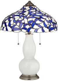 Winter White Gourd Table Lamp with Iris Blue Shade ...