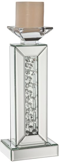 Marilu Silver Mirrored Crystal Candle Holder - #8J432 ...