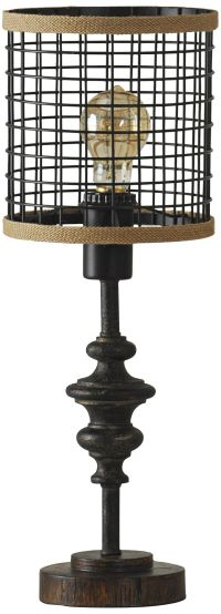 Jalome Vintage Black Metal and Burlap Cage Table Lamp
