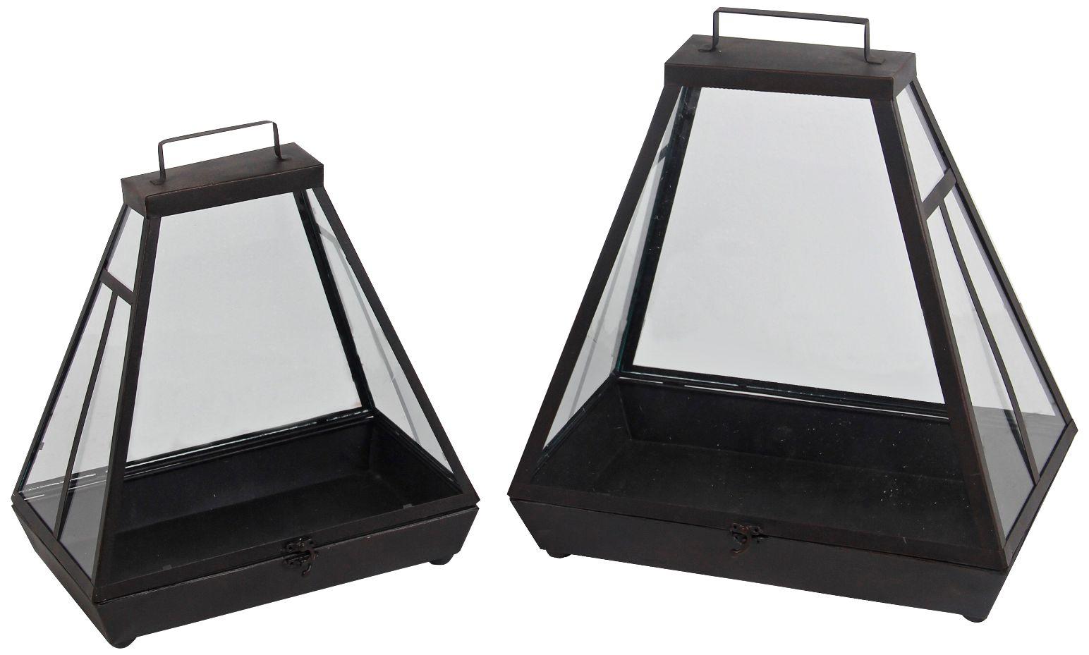 Hearth Black Votive Lantern 2 Piece Candle Holder Set