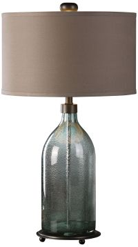 Uttermost Massana Olive-Gray Seeded Glass Table Lamp ...