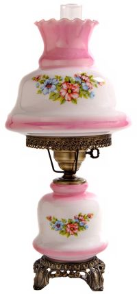 Small Pink Tint Floral Night Light Hurricane Table Lamp ...