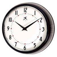 "Black Retro Round Metal 9 1/2"" Wide Wall Clock - #G8751 ..."