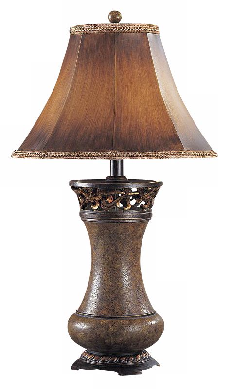 Brown Leather Panel Shade Table Lamp