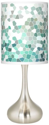 Aqua Mosaic Giclee Droplet Table Lamp
