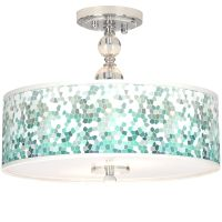 "Aqua Mosaic Giclee 16"" Wide Semi-Flush Ceiling Light - # ..."