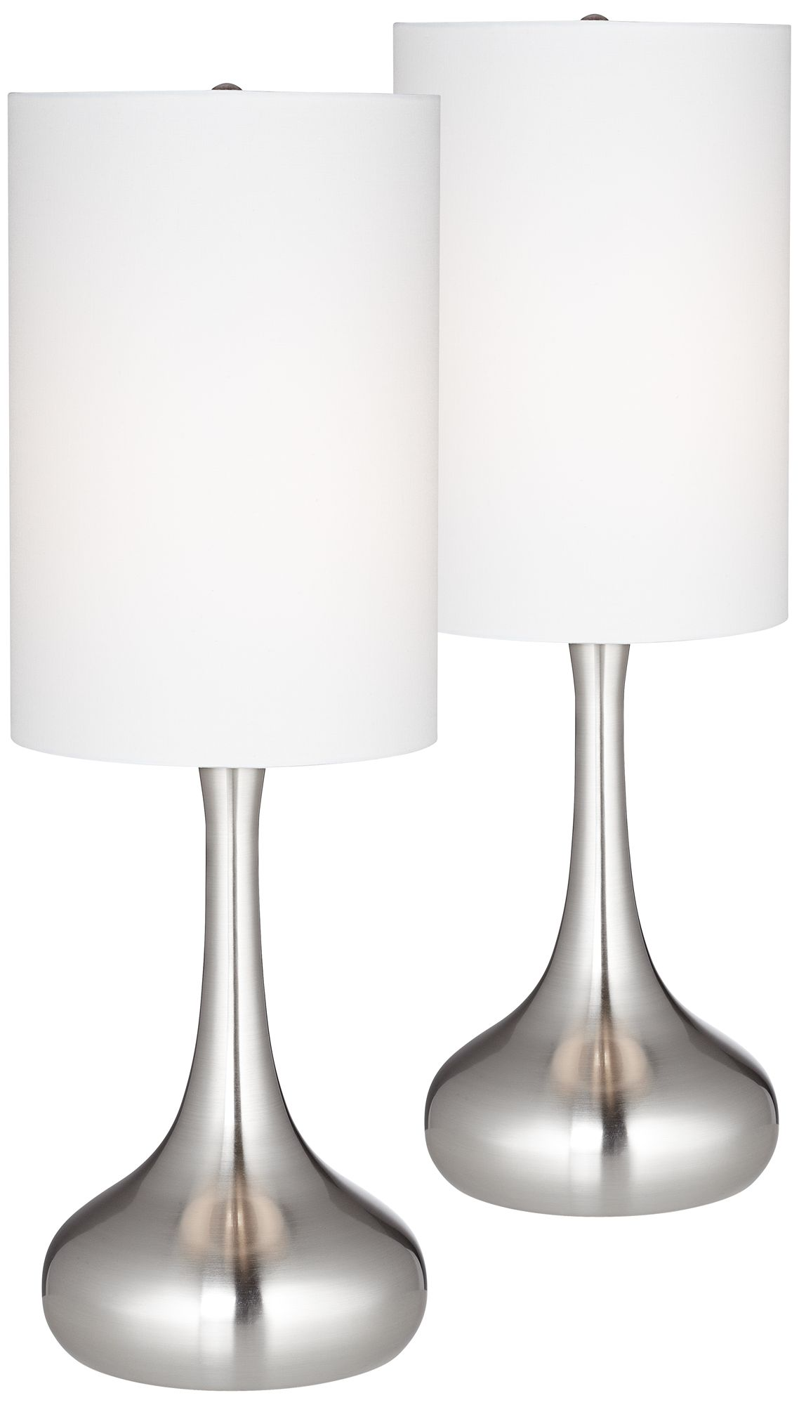 Brushed Steel Droplet Table Lamp w/ Cylinder Shade Set of