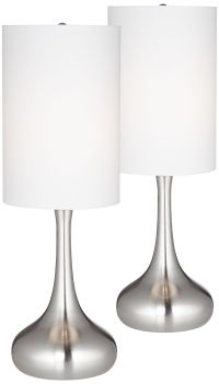 Brushed Steel Droplet Table Lamp w/ Cylinder Shade Set of ...